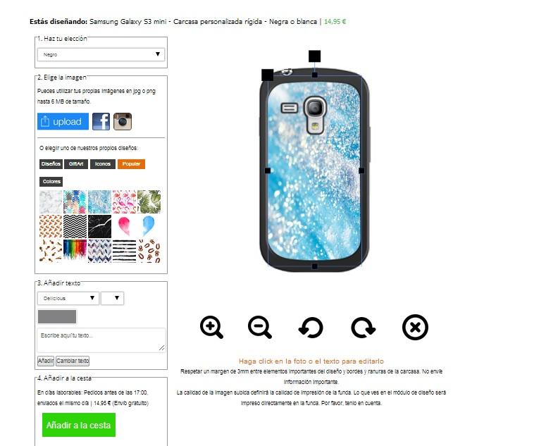 Coque personnalisée Samsung Galaxy S3 mini en  blanc, noir ou transparent