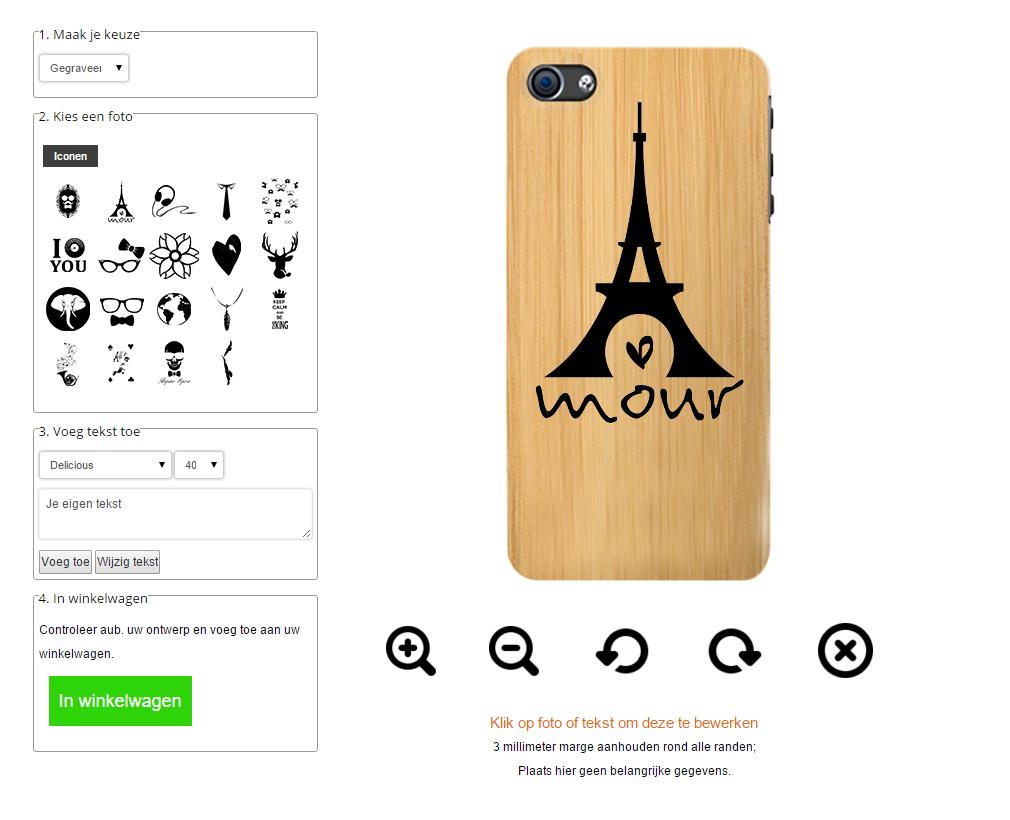 coque en bois personnalisablee iPhone 5, 5S ou SE