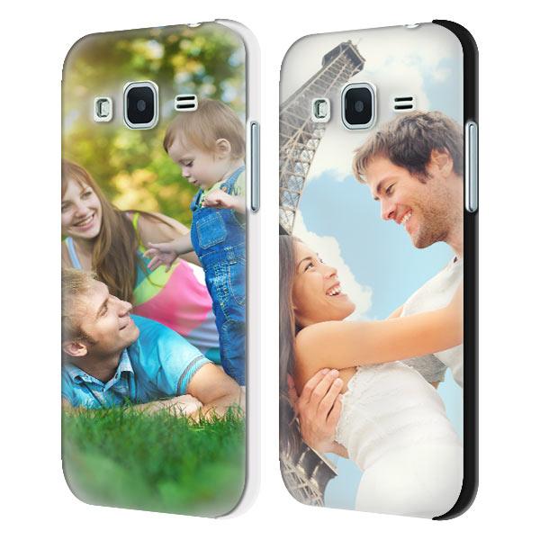 Coque personnalisée Samsung Galaxy Core Prime avec vos photos, étui rigide blanc ou noir