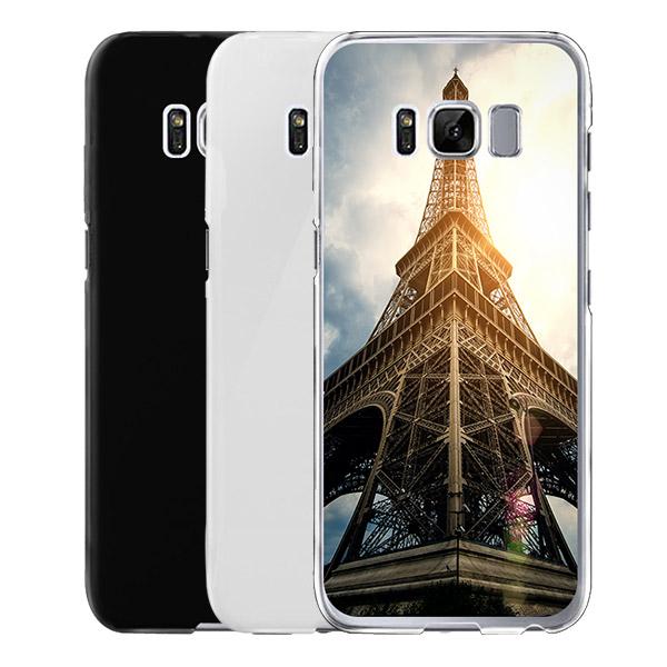 coque personnalisée Galaxy S8 rigide noire, banche, transparente