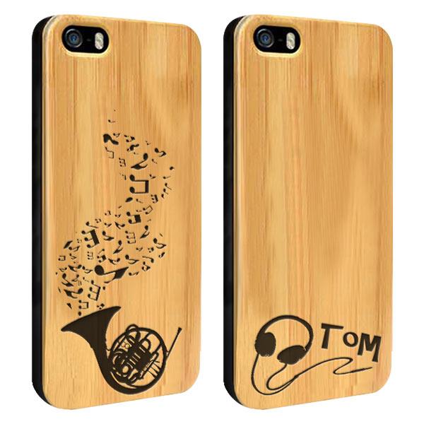 coque en bois gravée dans le bambou iPhone 5, 5S ou SE
